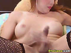 Cute Shemale Plays her Hard..