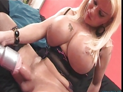 Busty shemale tests her..