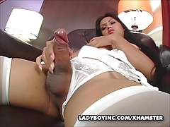 Ladyboy Amy stroking her..