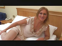 Mature tranny plays with..